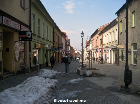 Side street in Wadowice, Poland