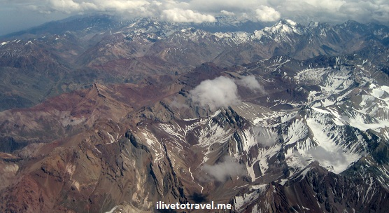 Crossing the Andes by plane - view of the mountains!