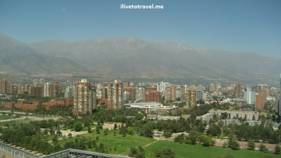 View of the Andes Mountains near Santiago, Chile from the Marriott hotel