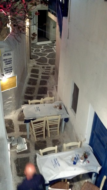View from my table at Kounelas in Mykonos, Greece