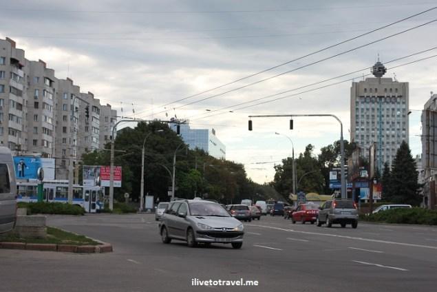 Street scene near central Chisinau, Moldova