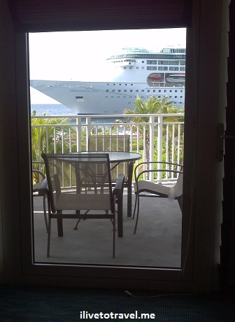 A cruise ship passes my hotel room at the Renaissance in Willemstad, Curacao