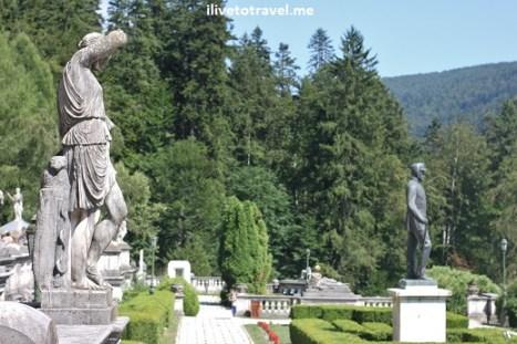 Gardens of Peles Castle in Transylvania, Romania