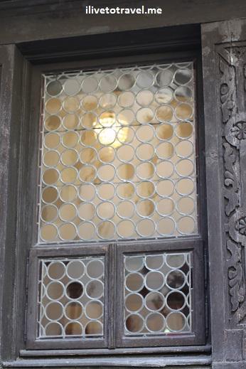 Window at Pelisor Castle in Transylvania, Romania near Sinaia
