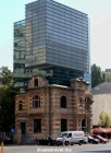 New architecture building built upon an old one in Bucharest, Romania