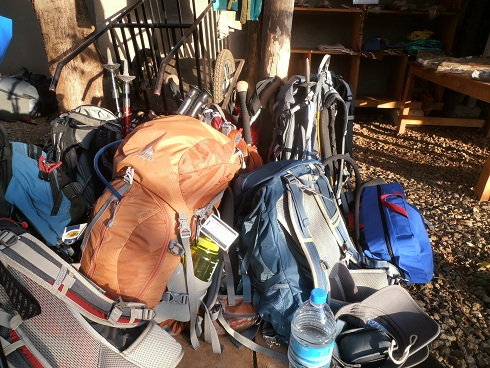 Backpacks ready to go up Mt. Kilimanjaro
