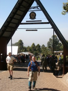 At the Machame Gate at the base of Mt. Kilimanjaro