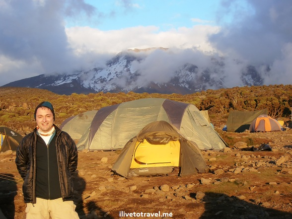 Shira Camp with Mt. Kilimanjaro as its backdrop