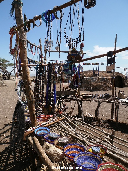 Crafts for sale at a Masai village in Tanzania