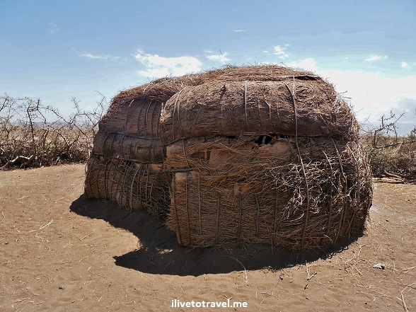 Exterior of a Masai warrior's hut in Tanzania