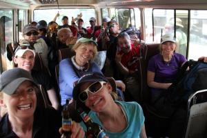 Trekkers leaving Mweka Gate after climbing Kilimanjaro
