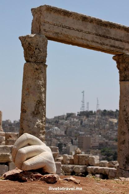 temple hercules roman statue, big hand, citadel amman jordan canon eos rebel