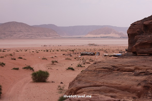 Typical vista or panorama of Wadi Rum desert in Jordan outdoors adventure