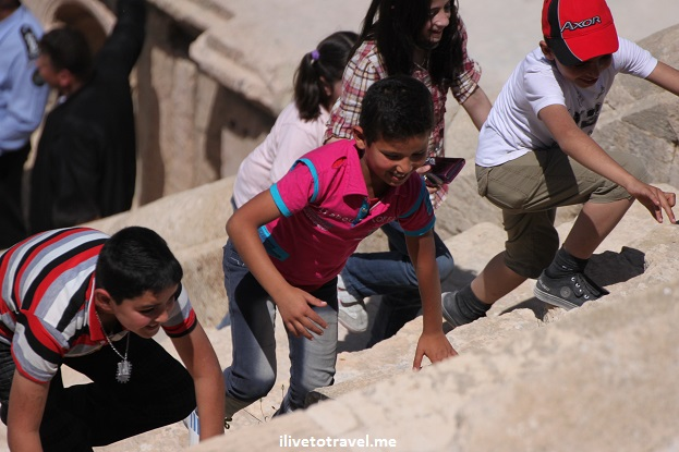 Jerash Jordan children Roman theater Canon EOS Rebel