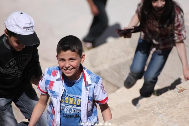 Jerash Jordan children Roman theater Canon EOS Rebel