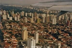 Landing Sao Paulo Guarulhos airport city urban