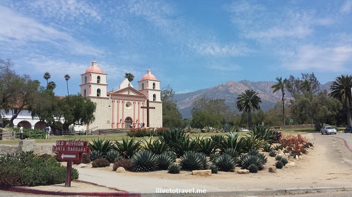 Santa Barbara, Mission, California, Franciscan, Olympus, travel, photo, architecture, history, religion, blue sky, church, cross