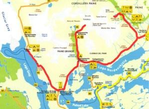 W circuit, Patagonia, Chile, Torres del Paine, hiking, trekking, glacier, lake, Pehoe, Grey, Nordenskjold, map
