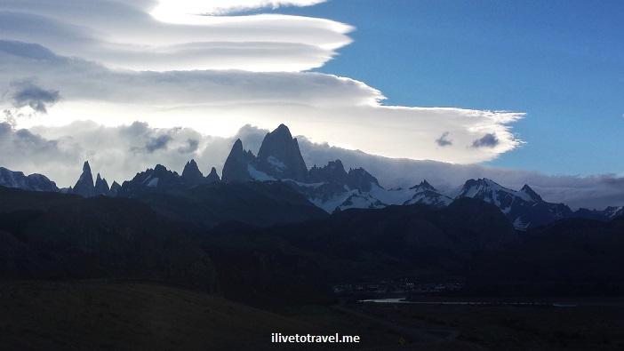 Fitz Roy, Chaltén, glacier national park, parque nacional glaciares, Patagonia, Argentina, hiking, trekking, photo, travel, Samsung Galaxy, mountains, clouds