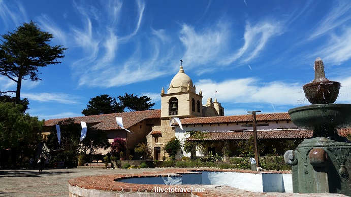 Junipero Serra, Carmel Mission, California, tomb, saint, history, faith, church, travel, photo, Samsung Galaxy, blue, sky, clouds