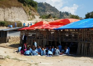 Makeshifts structures -and outdoor spaces- serve as temporary classrooms