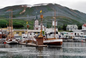 Husavik port and whale watching boat