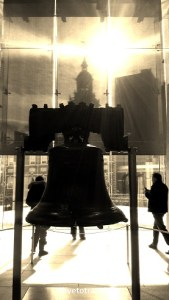Liberty Bell with Independence Hall behind it