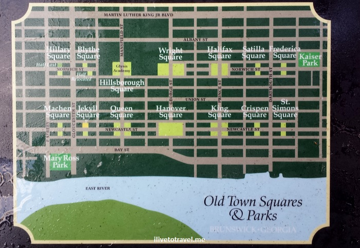 Brunswick, Georgia, parks, squares, layout, map