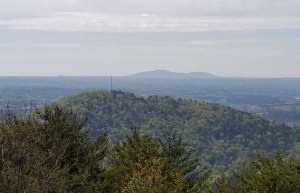 The double hump mountain is Kennesaw Mountain, a famous Civil War battlefield