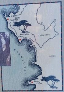 map, Pebble Beach, 17 Mile Drive, California, Pacific, Cypress Point, ocean, sea, algae, travel, drive, scenic