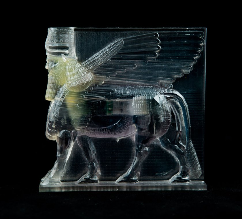 Artist Morehshin Allahyari uses 3-D scanning to recreate artifacts which have been damaged or destroyed, like this Assyrian Lamassu