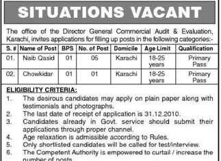 Commercial Audit & Evaluation Department Karachi Jobs