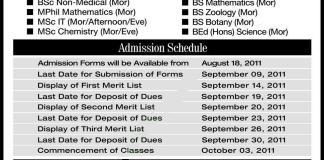 university of education admission 2011