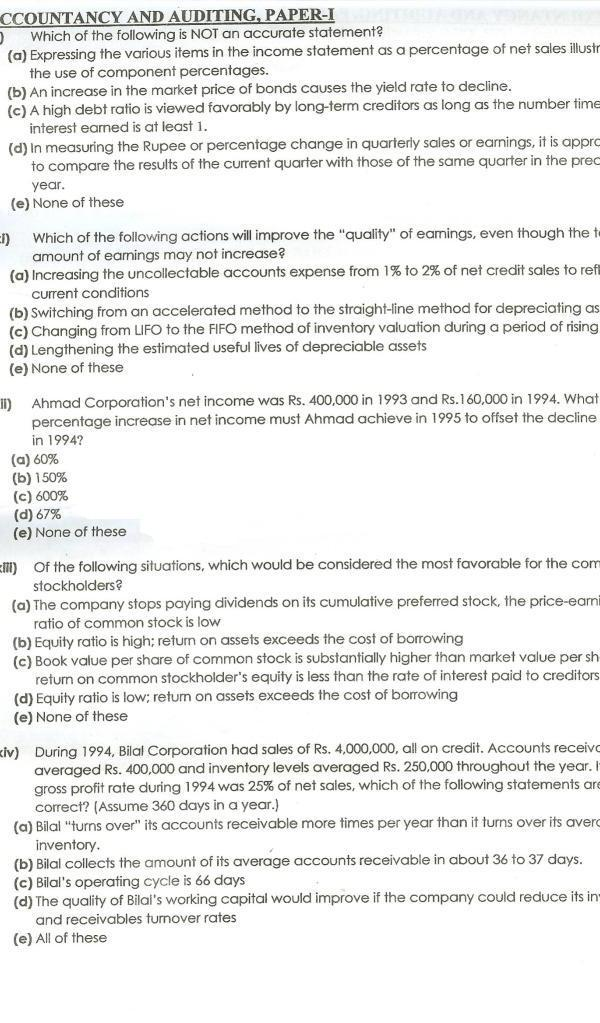 CSS Accountancy and Auditing Past Paper 2011 2