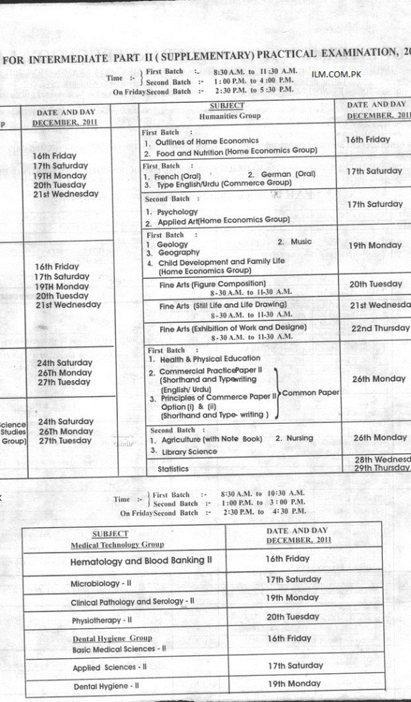 BISE Lahore Board Inter Part 2 Supplementary Exams Date Sheet 2011 1
