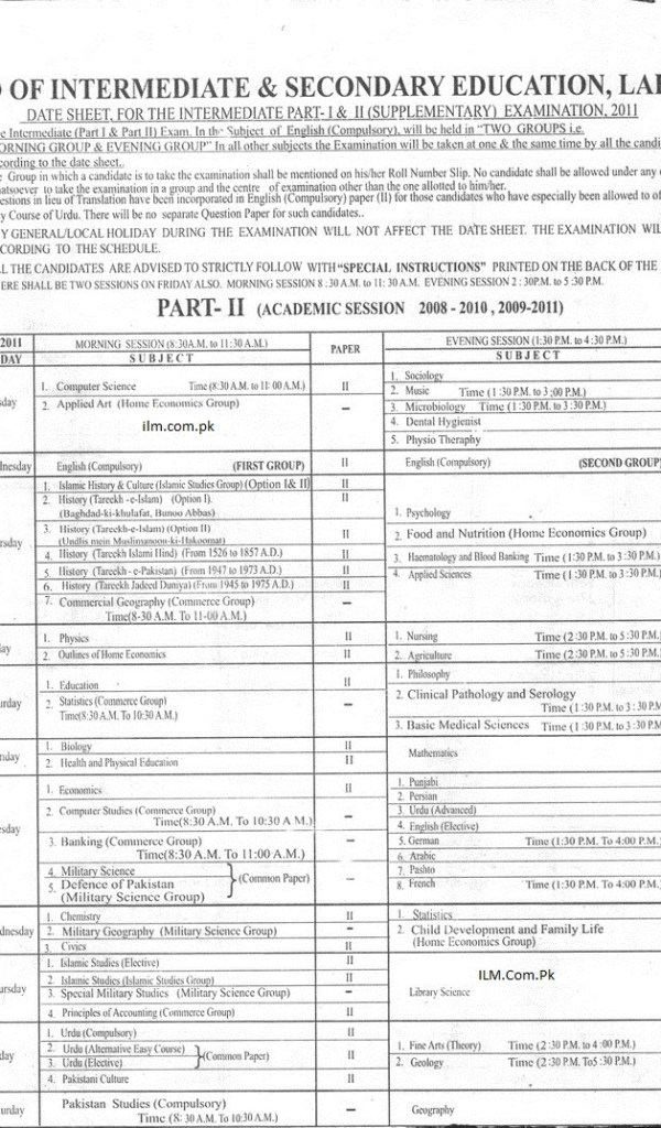 BISE Lahore Board Inter Part 2 Supplementary Exams Date Sheet 2011