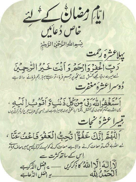 Ramzan-ul-Mubarak Dua for First, Second and Third Ashras