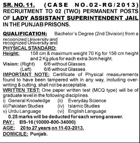 Assistant/Deputy superintendent Jail jobs 2013 Through PPSC