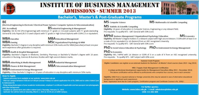 Institude of Business Management IOBM Summer Admission 2014