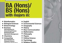 Forman Christian FC College Lahore BA, BS Admission 2014 Form Date