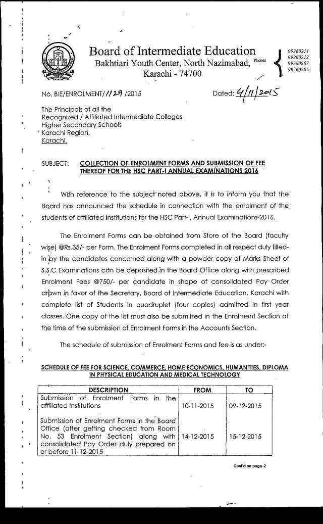BIEK Karachi Board Inter part 1, 2 Form Submission Schedule 2016 Dates