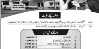 College Of Medical Laboratory Technology Admission 2016 Entry Test Result, Merit List