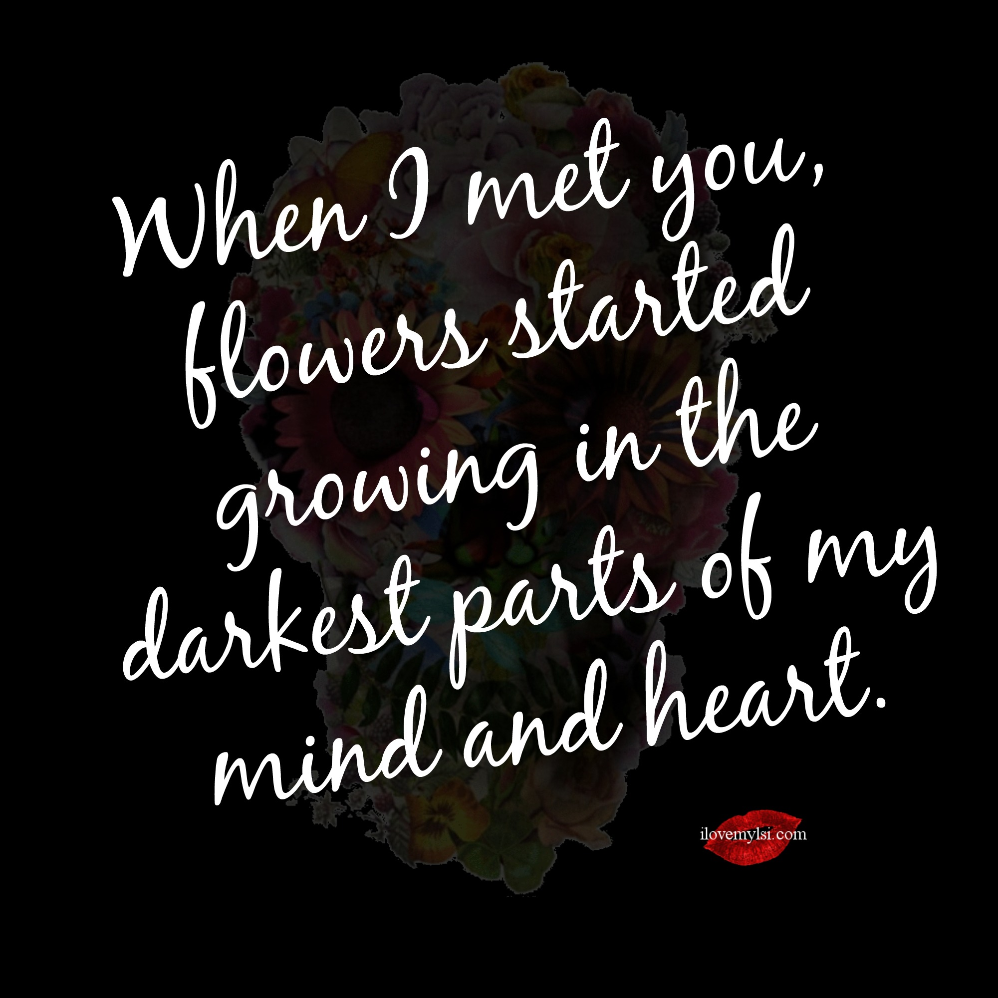 When I met you flowers started growing   I Love My LSI