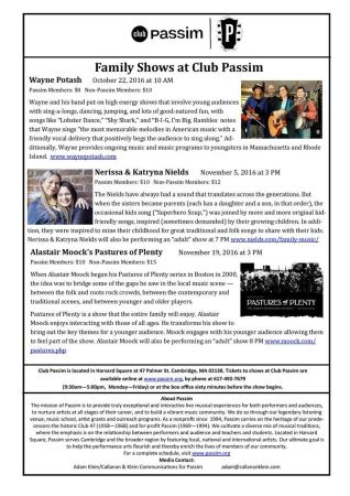 Fall Family Shows at Club Passim in Cambridge