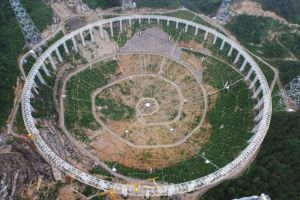 (FILES) This file photo taken on July 29, 2015 shows the five-hundred-metre Aperture Spherical Radio Telescope (FAST) under construction in Pingtang, southwestern China's Guizhou province.  The world's largest radio telescope began operating in southwestern China on September 25, 2016, a project which Beijing says will help humanity search for alien life.   / AFP PHOTO / STR /  - China OUT