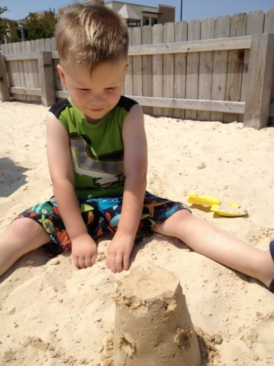 His 1st Sandcastle