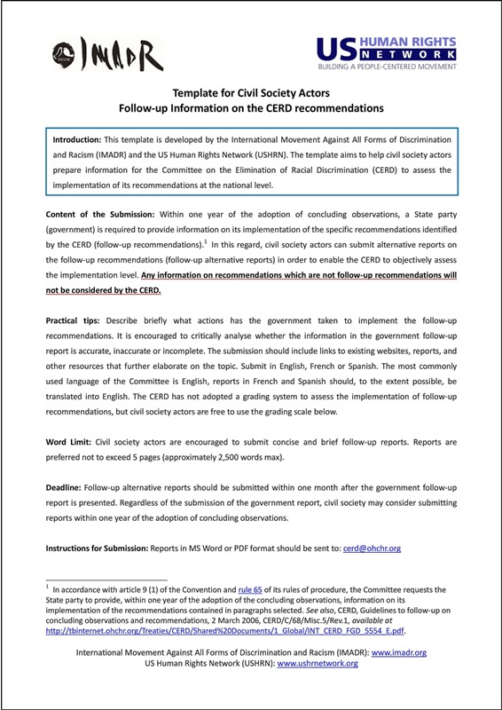 IMADR-USHRN_Template for Civil Society Actors_Follow-up Information on the CERD recommendations
