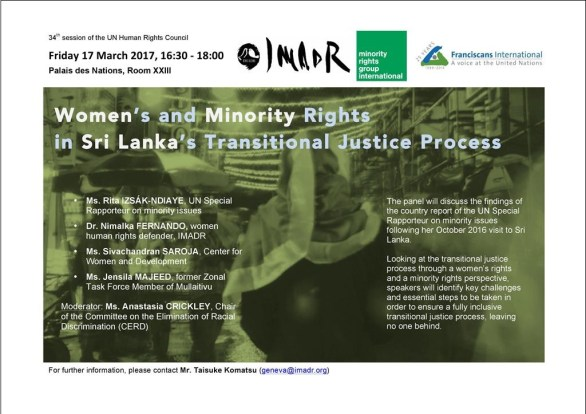 HRC34 side event_Women's and Minority Rights in Sri Lanka Transitional Justice Process (430pm 17 March 2017 Room XXIII)