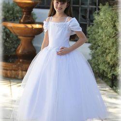 Ball Gown White Kids First Communion Dress Satin Organza Spaghetti