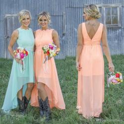 Stylized 2017 Mint Orange Low Cheap Bridesmaid Dresses Under Chiffon Maidof Honor Dresses A Line Crew Appliques Pleated Short Party Dresses Cheapplus Size 2017 Mint Orange Low Cheap Bridesmaid Dresses